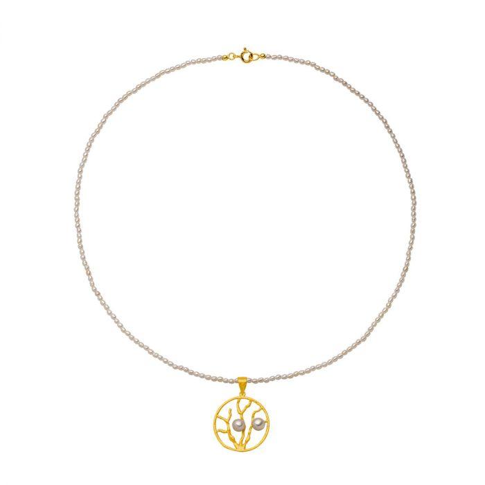 Perlenkette mit Goldanhänger